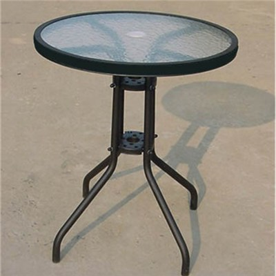 Steel Frame Garden Patio Frosted Glass Coffeetea Round Table