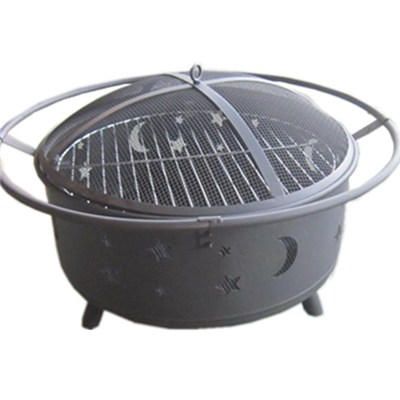 Steel Black Moon Stars BBQ Fire Pit With Flower Pattern
