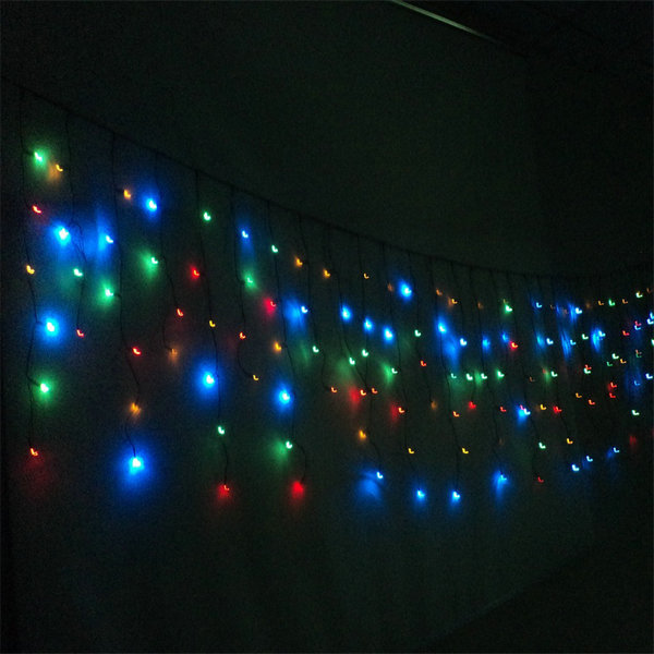 180LED Solar String Curtain Lights for Indoor Outdoor Festival Decoration