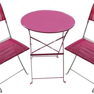 Balcony Table Chairs-3pc Metal Bistro Set