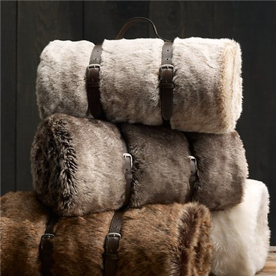 Faux Fur Blanket Wolf