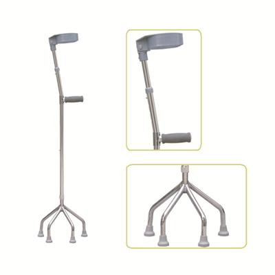 #JL933A – Height Adjustable Lightweight Walking Forearm Crutch With Small Quad Base & Comfortable Handgrip, Gray