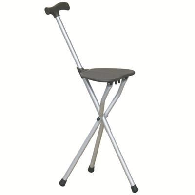 #JL9402L – Folding Seat Cane With Comfortable T-Handle, Silver