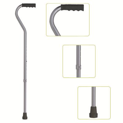 #JL928L – Height Adjustable Lightweight Offset Handle Walking Cane With Comfortable Handgrip, Silver