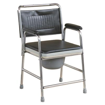 #JL893 – Steel Commode Chair With Padded Seat Panel & Armrests