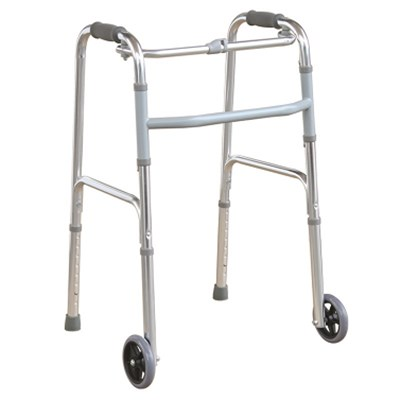 #JL9125L – Button Folding Walker With 5 Front Wheels & Height Adjustable