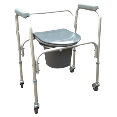 #JL8801LW – Aluminum Lightweight Commode Chair With Plastic Armrests & 3 Wheels