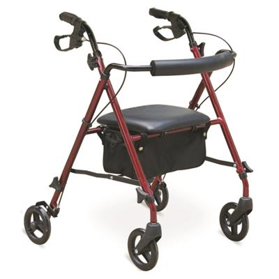 #JL964LH – Lightweight Rollator Walker With 6 Tool-Free Detachable Casters, Shopping Bag & Loop Brakes