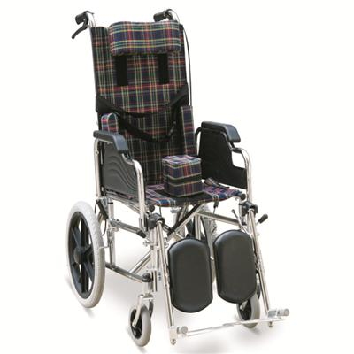 #JL212BCG – Chromed Reclining Wheelchair With Flip Back Armrests, Detachable & Elevating Footrests, MAG-Style Wheels