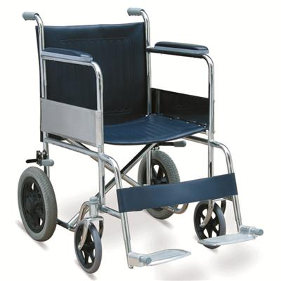 #JL807 – 29 lbs. Attractively Priced Steel Transport Wheelchair With 12 Rear Wheels With MAG Hubs & Pneumatic Tires