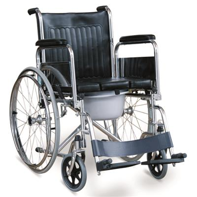 #JL681U - Commode Wheelchair With U Seat Panel, Flip Down Armrests & Detachable Footrests