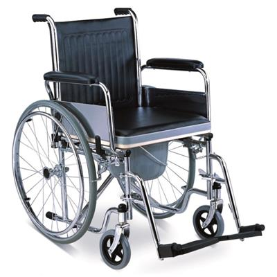 #JL682 - Commode Wheelchair With Flip Down Armrests & Detachable Footrests