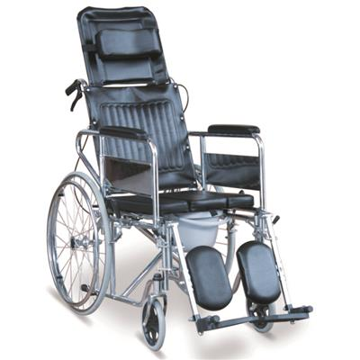 #JL609GC – Reclining Commode Wheelchair With Detachable Armrests & Detachable Elevating Footrests