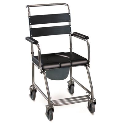 #JL695S – Stainless Steel Shower Commode Wheelchair With Flip Down Armrest, Foldable Footrests & Detachable Backrest