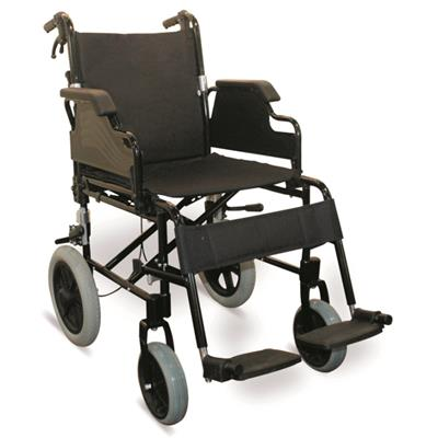 #JL910LABJ – 31 lbs. Fashionable Transport Wheelchair With Flip Back Armrests & Detachable Footrests, 8 PU Front Casters & 12 Rear Wheels With MAG Hubs & PU Tires