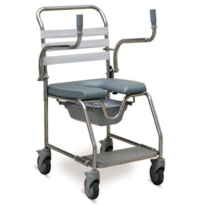 #JL698S – Simple Stainless Steel Shower Commode Wheelchair With Detachable Armrests
