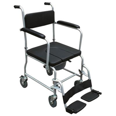 #JL6923 – Commode Wheelchair With Flip Down Armrests & Detachable Footrests