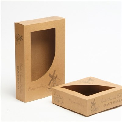 Customize Printed Kraft Paper Cardboard Packaging Box With Window