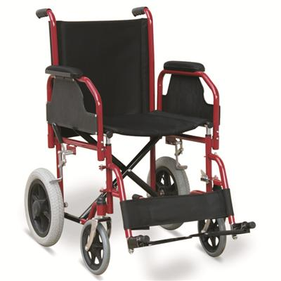 #JL904B – 31 lbs. Economic Steel Transport Wheelchair With Detachable Armrests & Footrests, 12 Rear Wheels With MAG Hubs & Pneumatic Tires
