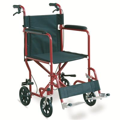 #JL976ABJ – 29 lbs. Economic Steel Transport Wheelchair With Detachable Footrests & Drop Back Handles With Brakes