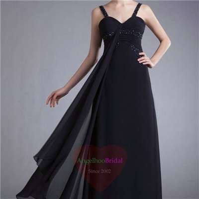 Beaded Chiffon Black Prom Dresses P1602