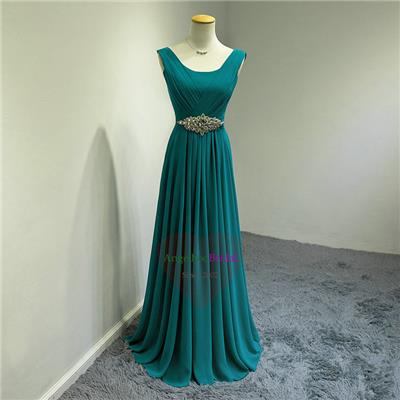 Teal Blue Chiffon Evening Dresses ED1515