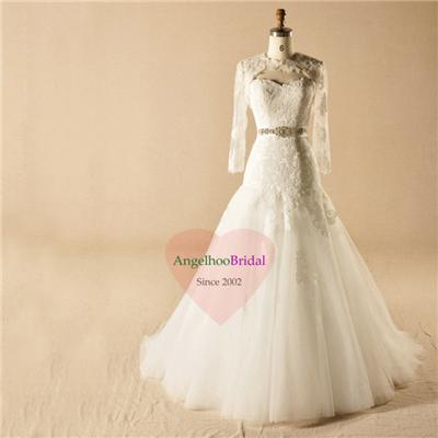 Fit And Flare Bridal Gown With Belt WD1564
