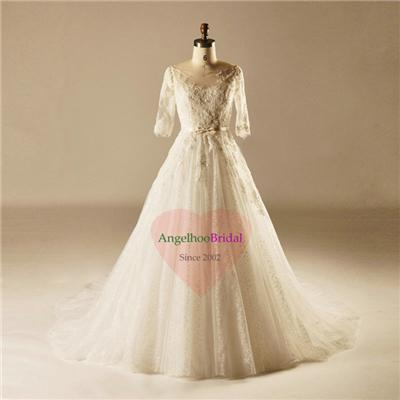 Elbow Sleeve A Line Wedding Dresses WD1515
