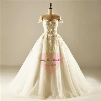 Tulle A Line Ball Gown Wedding Dresses WD1565