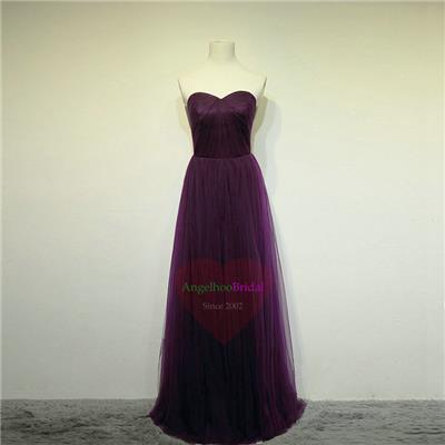 Convertiable Purple Tulle Bridesmaid Dresses BM1530