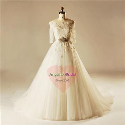 A Line Tulle Wedding Dresses WD1504