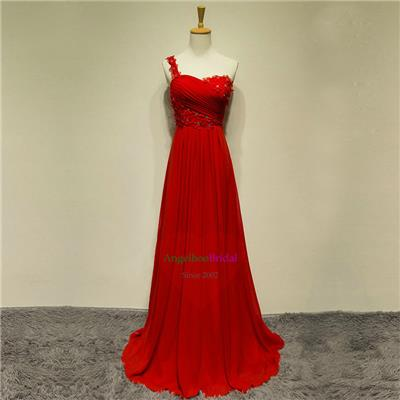 Red Evening Dresses With Pleats ED1528