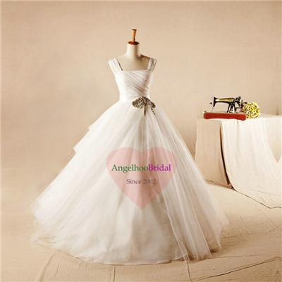 Draped Organza Ball Gown Wedding Dresses WD1534