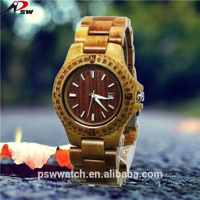 2016 Wood Watch Date and Day Function Zebra Wood Watch