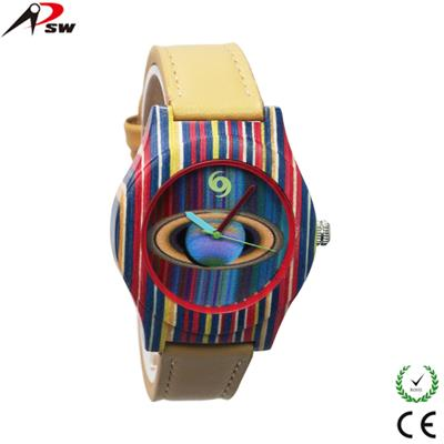 2016 new design charm wood watches leather rainbow wood watches