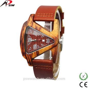Genuine Leather Bamboo Wood Watch