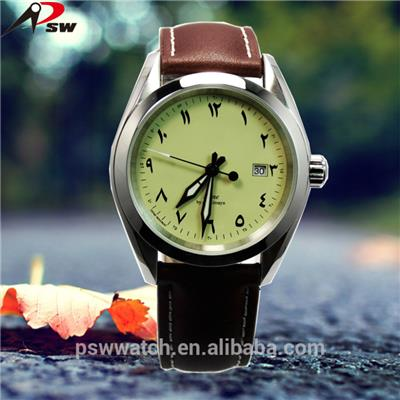 Genuine Leather Band Arabic Numerals Dial Wrist Watch