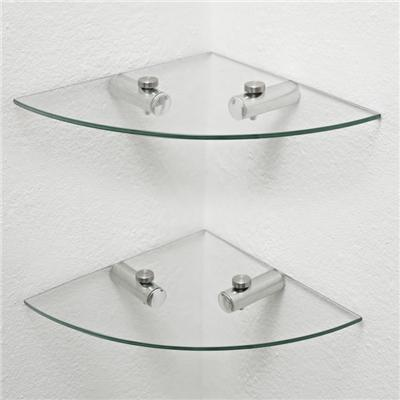 Corner Clear Glass Shelves Sector Shape For Kitchen Room
