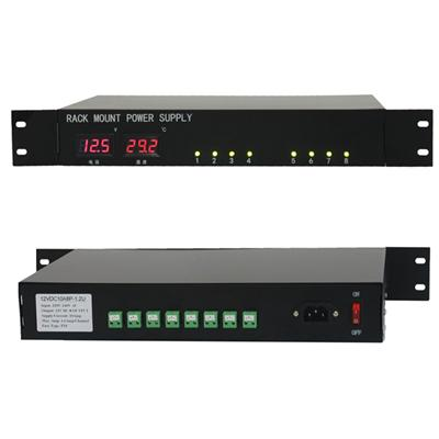 1.5U Temp And Voltage With Led Display Security Rack Mount Power Supply DC 12V 10A (12VDC10A8P-1.5U)