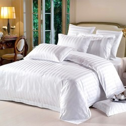 bleached white/dyed sateen stripe/check duvet covers for hotel