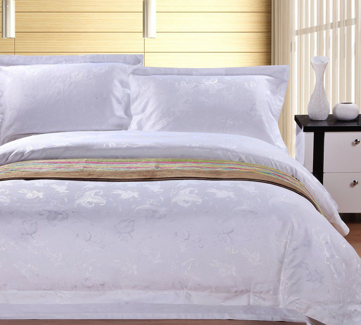 bleached white/dyed sateen/satin duvet covers for hotel