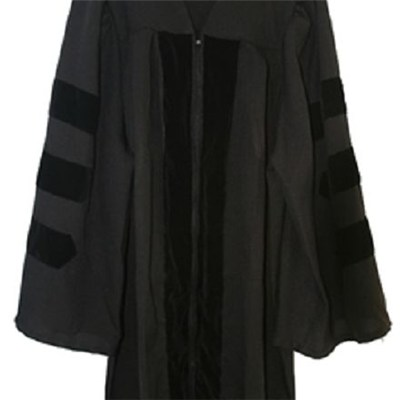 Classic Doctoral Graduation Gown Only With Black Velvet