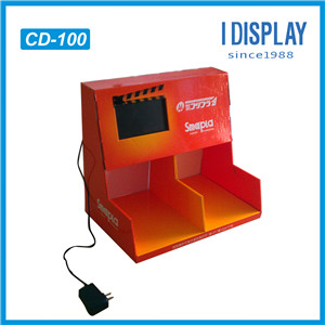 Customized Made Paper Material Cosmetic Product Display Stands With LCD Screen