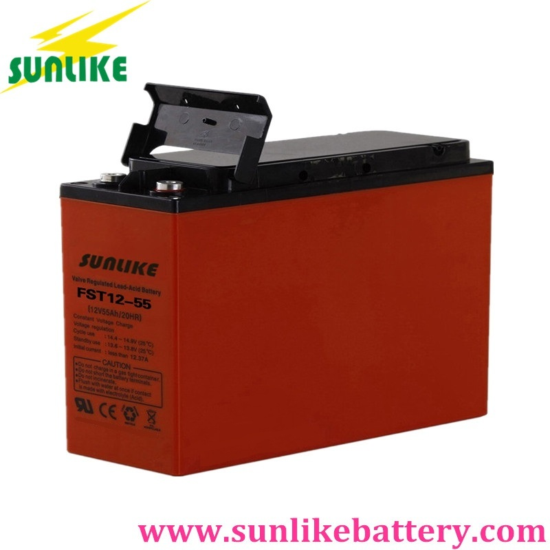 front terminal battery, 55ah deep cycle battery, communication battery