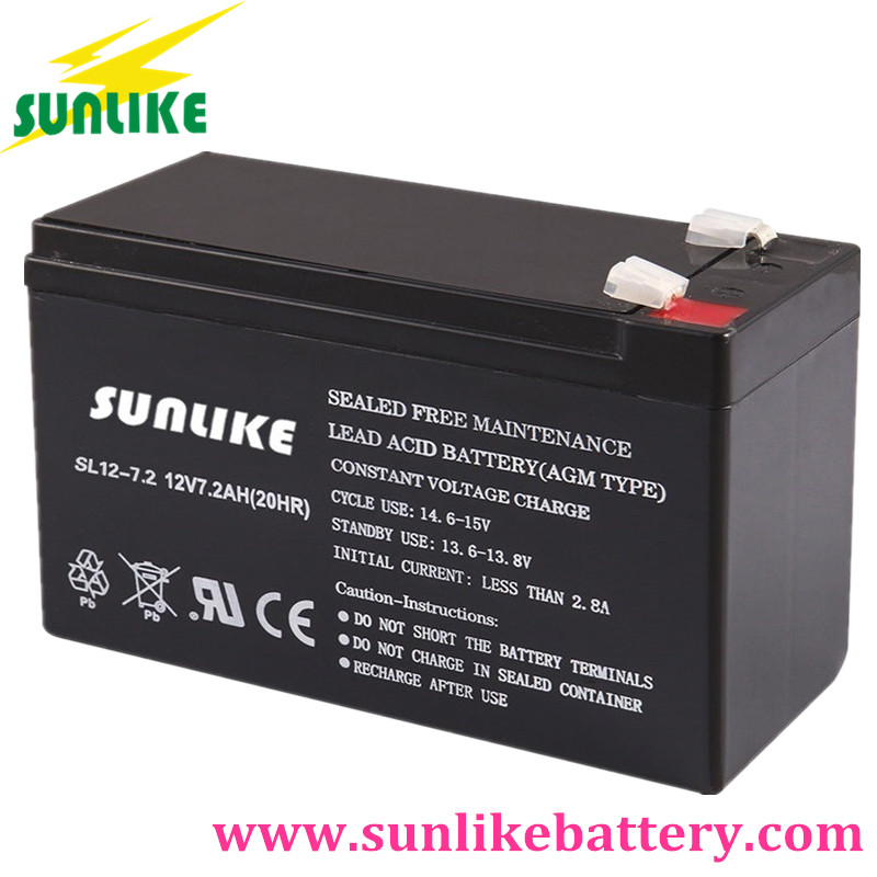 rechargeable battery, emergency light battery, ups battery 12v7.2ah