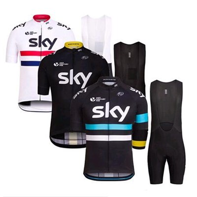 Tour De France Team Cycling Jerseys Sets have Short Sleeves and Bib Pants for Men