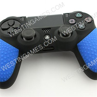 Black Silicone Protective Case With Particle Grip For Ps4 Dualshock 4 Controllers - Blue