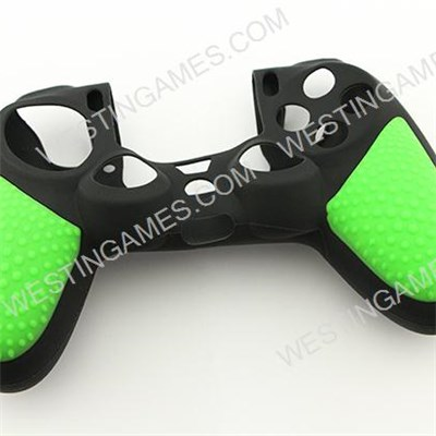 Black Silicone Protective Case With Particle Grip For PS4 Dualshock 4 Controllers - Green