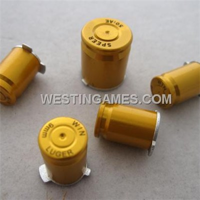 Xbox 360 Controller 9mm ABXY + Guide Bullet Shell Button Mod Kit - Gold