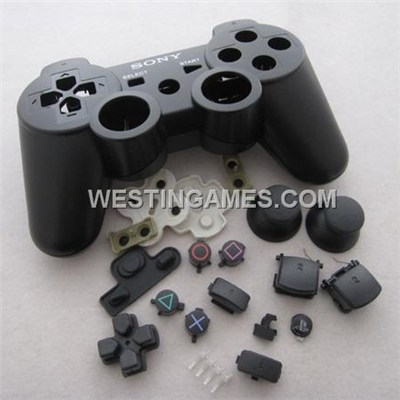 Replacement Wireless Controller Housing Shell Case With Rubber Pad For Sony PS3 - Black